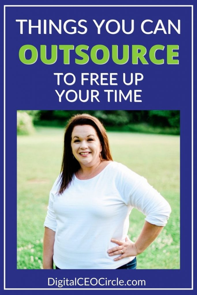 Image of christina hitchcock with text stating Things you can outsource to free up your time